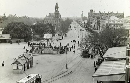 Pall Mall Bendigo looking north from fountain sometime 1890-1901